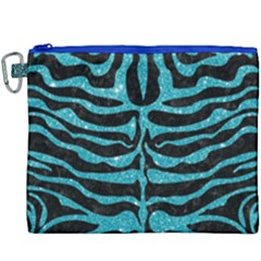 Skin2 Black Marble & Turquoise Glitter (r) Canvas Cosmetic Bag (xxxl)