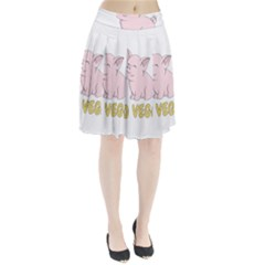Go Vegan   Cute Pig Pleated Skirt