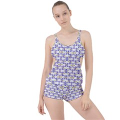 Decorative Ornate Pattern Boyleg Tankini Set