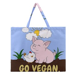 Go Vegan   Cute Pig And Chicken Zipper Large Tote Bag