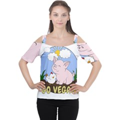 Go Vegan   Cute Pig And Chicken Cutout Shoulder Tee