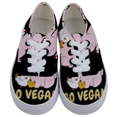 Go Vegan   Cute Pig And Chicken Kids  Classic Low Top Sneakers