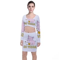 Go Vegan   Cute Pig And Chicken Long Sleeve Crop Top & Bodycon Skirt Set