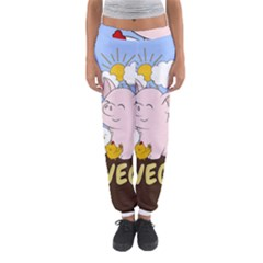 Go Vegan   Cute Pig And Chicken Women s Jogger Sweatpants