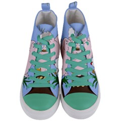 Go Vegan   Cute Pig And Chicken Women s Mid Top Canvas Sneakers