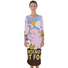 Friends Not Food   Cute Pig And Chicken Quarter Sleeve Midi Bodycon Dress