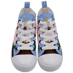 Friends Not Food   Cute Pig And Chicken Kid s Mid Top Canvas Sneakers