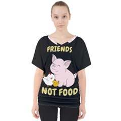Friends Not Food   Cute Pig And Chicken V Neck Dolman Drape Top