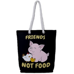 Friends Not Food   Cute Pig And Chicken Full Print Rope Handle Tote (small)
