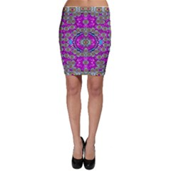 Spring Time In Colors And Decorative Fantasy Bloom Bodycon Skirt