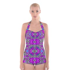 Spring Time In Colors And Decorative Fantasy Bloom Boyleg Halter Swimsuit