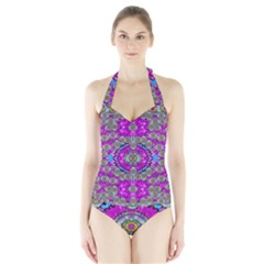 Spring Time In Colors And Decorative Fantasy Bloom Halter Swimsuit