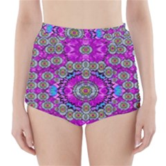Spring Time In Colors And Decorative Fantasy Bloom High Waisted Bikini Bottoms
