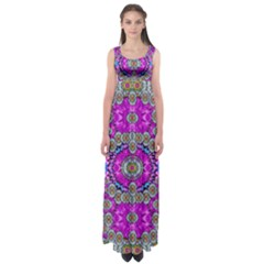 Spring Time In Colors And Decorative Fantasy Bloom Empire Waist Maxi Dress