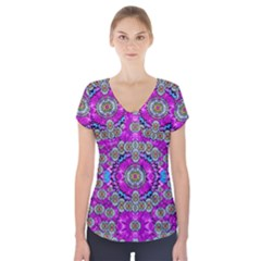 Spring Time In Colors And Decorative Fantasy Bloom Short Sleeve Front Detail Top