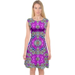 Spring Time In Colors And Decorative Fantasy Bloom Capsleeve Midi Dress