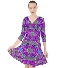 Spring Time In Colors And Decorative Fantasy Bloom Quarter Sleeve Front Wrap Dress