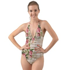 On Wood 2226067 1920 Halter Cut Out One Piece Swimsuit