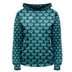 Scales3 Black Marble & Turquoise Glitter Women s Pullover Hoodie