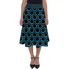 Scales2 Black Marble & Turquoise Glitter (r) Perfect Length Midi Skirt