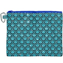 Scales2 Black Marble & Turquoise Glitter Canvas Cosmetic Bag (xxxl)