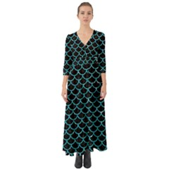 Scales1 Black Marble & Turquoise Glitter (r) Button Up Boho Maxi Dress