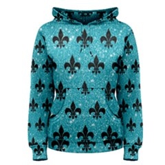 Royal1 Black Marble & Turquoise Glitter (r) Women s Pullover Hoodie