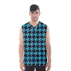 Houndstooth1 Black Marble & Turquoise Glitter Men s Basketball Tank Top