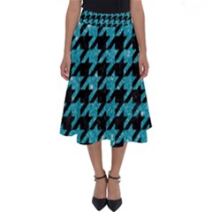 Houndstooth1 Black Marble & Turquoise Glitter Perfect Length Midi Skirt