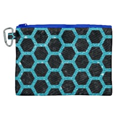 Hexagon2 Black Marble & Turquoise Glitter (r) Canvas Cosmetic Bag (xl)