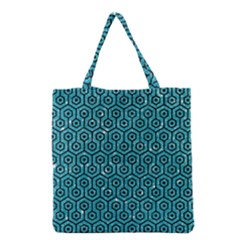 Hexagon1 Black Marble & Turquoise Glitter Grocery Tote Bag