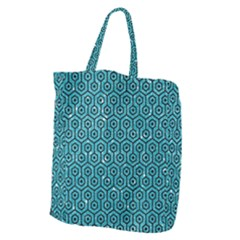 Hexagon1 Black Marble & Turquoise Glitter Giant Grocery Zipper Tote