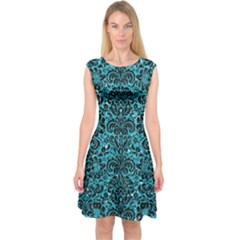 Damask2 Black Marble & Turquoise Glitter Capsleeve Midi Dress