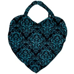 Damask1 Black Marble & Turquoise Glitter (r) Giant Heart Shaped Tote