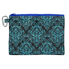 Damask1 Black Marble & Turquoise Glitter (r) Canvas Cosmetic Bag (xl)