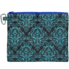 Damask1 Black Marble & Turquoise Glitter (r) Canvas Cosmetic Bag (xxxl)
