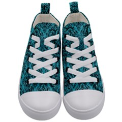 Damask1 Black Marble & Turquoise Glitter Kid s Mid Top Canvas Sneakers