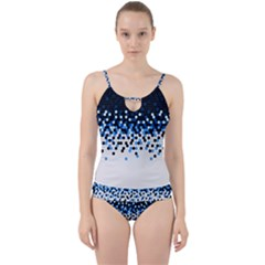 Flat Tech Camouflage Reverse Blue Cut Out Top Tankini Set