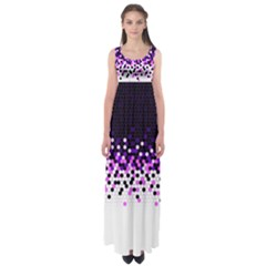 Flat Tech Camouflage Reverse Purple Empire Waist Maxi Dress