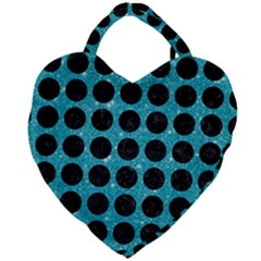 Circles1 Black Marble & Turquoise Glitter Giant Heart Shaped Tote