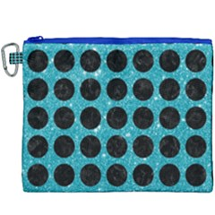 Circles1 Black Marble & Turquoise Glitter Canvas Cosmetic Bag (xxxl)