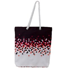 Flat Tech Camouflage Reverse Red Full Print Rope Handle Tote (large)