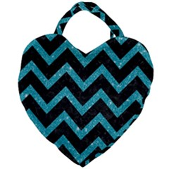 Chevron9 Black Marble & Turquoise Glitter (r) Giant Heart Shaped Tote