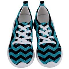 Chevron3 Black Marble & Turquoise Glitter Women s Lightweight Sports Shoes