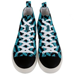 Chevron1 Black Marble & Turquoise Glitter Men s Mid Top Canvas Sneakers