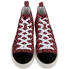 Woven2 Black Marble & Red Glitter Men s Mid Top Canvas Sneakers