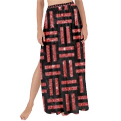 Woven1 Black Marble & Red Glitter (r) Maxi Chiffon Tie Up Sarong
