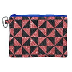 Triangle1 Black Marble & Red Glitter Canvas Cosmetic Bag (xl)