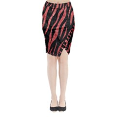 Skin3 Black Marble & Red Glitter (r) Midi Wrap Pencil Skirt