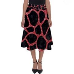 Skin1 Black Marble & Red Glitter Perfect Length Midi Skirt